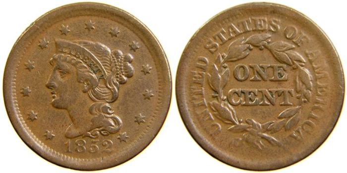 US Coins - UNITED STATES, Large Cent, Braided Hair, 1852, VF-30.