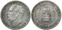 World Coins - INDIA, PORTUGUESE, Luis I, 1861-1889, AR Rupia, 1881 (Calcutta).