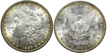 Us Coins - UNITED STATES, 1887 Morgan Dollar, Toned MS62+.