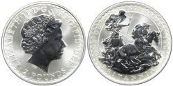 World Coins - GREAT BRITAIN, 1999 Britannia £2, 1oz .999 Silver, Better Date, Gem BU.