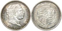 World Coins - GREAT BRITAIN, George III, 1760-1820, AR Shilling, 1820, Choice AU. Ex CNG.