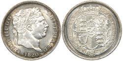 World Coins - GREAT BRITAIN, George III, 1760-1820, AR Shilling, 1820, Choice AU. Ex CNG.