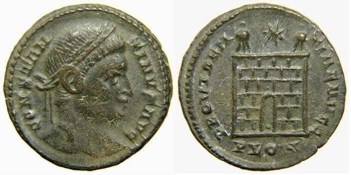 """Ancient Coins - CONSTANTINE I """"The Great"""". AD 307-337, AE3, PROVIDENTIAE AVGG, Campgate, Pellet in Doorway, London."""