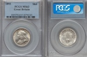 World Coins - GREAT BRITAIN, Victoria (1837-1901), AR Shilling, 1893, PCGS MS-63.