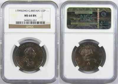 World Coins - GREAT BRITAIN, Hanover, George III, 1760-1820, AE 1/2 Penny, 1799, 3rd Issue, Soho. NGC MS-64 BN.