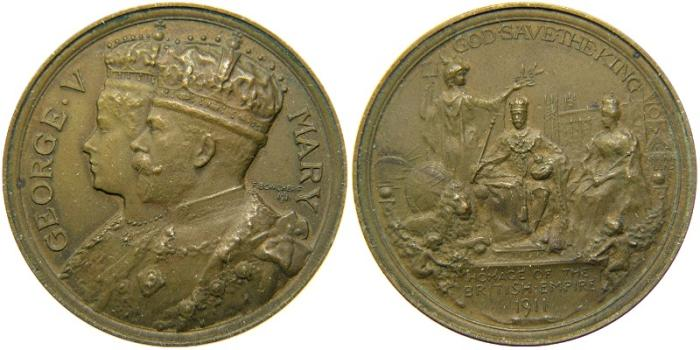 World Coins - GREAT BRITAIN, Saxe-Coburg-Gotha, George V, 1910-1935, Official Bronze Coronation Medal by Frank Bowcher for Spink, 1911.