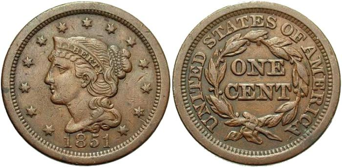 US Coins - UNITED STATES, Large Cent, Braided Hair, 1851, VF-30.