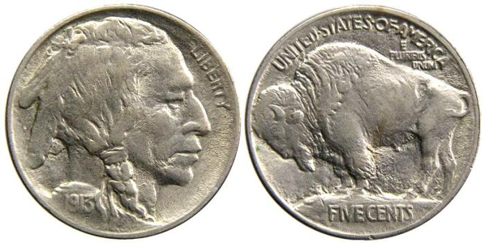 US Coins - UNITED STATES, Buffalo Nickel, 1913, Type I, Mound, AU-55.