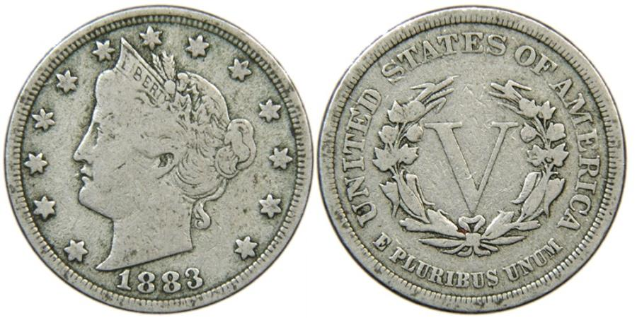 """US Coins - UNITED STATES, Liberty Nickel, 1883 """"No Cents"""", Fine."""