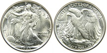 Us Coins - UNITED STATES, 1943 Walking Liberty Half Dollar, Choice AU.
