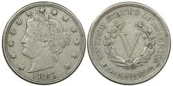 """Us Coins - UNITED STATES, Liberty Nickel, 1883 """"No Cents"""", VF."""