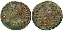 "Ancient Coins -  CONSTANTIUS II, AD 337-361, AE2, ""Happy Times Restored"", Emperor & Captives, Cyzicus."