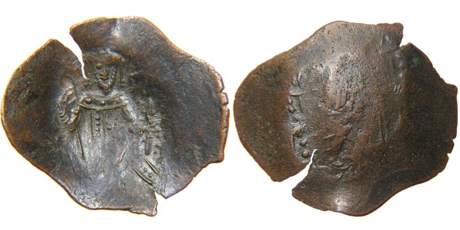 "Ancient Coins - CRUSADER STATES, Latin Empire of Constantinople, 1204-1261, Small Module ""Venetian"" AE Trachy, Emperor & Virgin."
