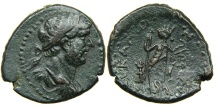 Ancient Coins - JUDAEA, ASCALON, Hadrian, AD 117-138, AE25, year 226, Tyche-Astarte. Ex A.K. Collection (CNG).