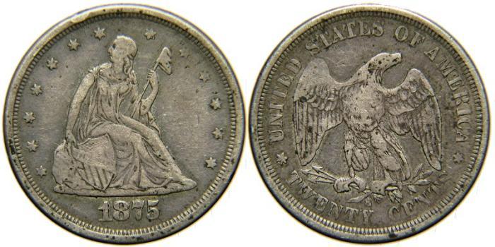 US Coins - UNITED STATES, 1875-S Twenty Cents, F-VF.