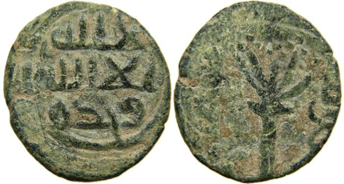 World Coins - ISLAMIC, Umayyad Governors, Palestine, c. AH 90s/ AD 710s, Tree with Fruit, Very Rare.