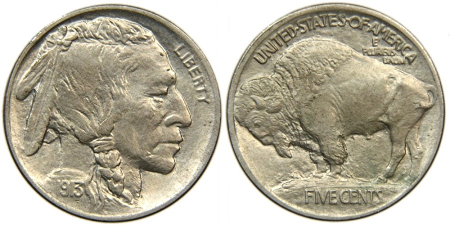 US Coins - UNITED STATES, Buffalo Nickel, 1913 Type I, AU.