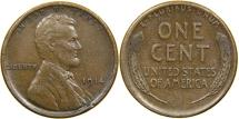 Us Coins - UNITED STATES, 1914-S Lincoln Cent, EF.