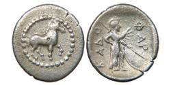 Ancient Coins - THESSALY, PHARKADON, c. 420-400 BC, AR Obol, Prancing Horse/ Athena, Ex BCD Collection.
