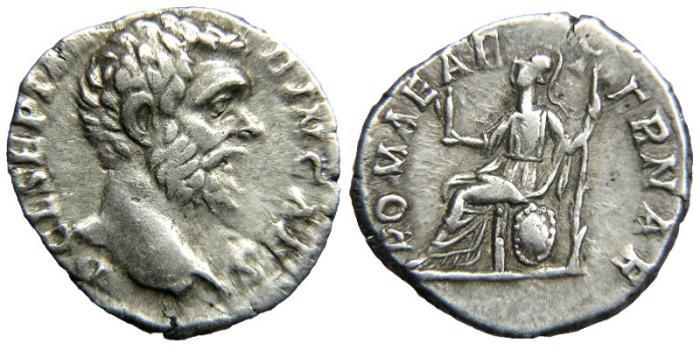 Ancient Coins - CLODIUS ALBINUS as Caesar, AD 193-195, AR Denarius, ROMAE AETERNAE, Roma Seated.