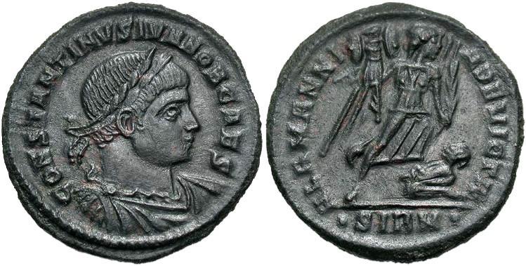 Ancient Coins - CONSTANTINE II, Caesar AD 317-337, AE3, ALAMANNIA DEVICTA, Sirmium, RIC 50. R.