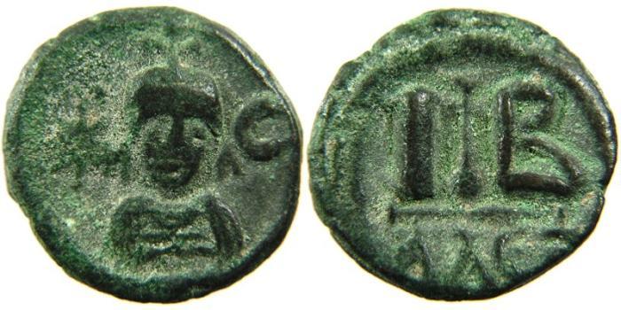 Ancient Coins - EGYPT, Sasanian (Persian) Occupation, AD 619-628, AE 12 Nummi, Alexandria. Khusru II.