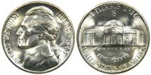 Us Coins - UNITED STATES, 1945-S Jefferson Nickel, Wartime Silver Alloy, MS-63.