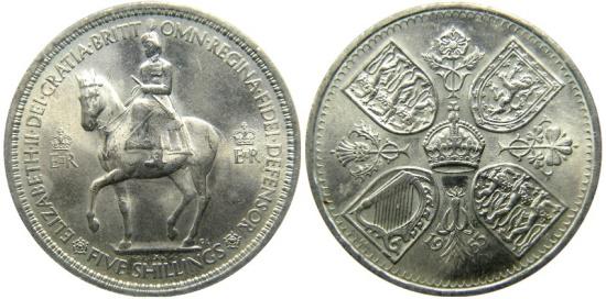 GREAT BRITAIN ELIZABETH II 1953 CORONATION CROWN UNC