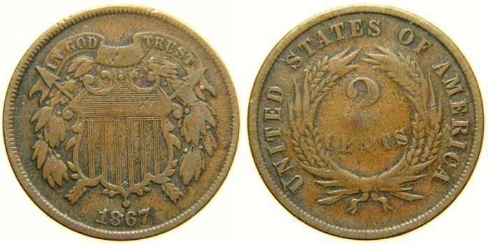 US Coins - UNITED STATES, Two Cents, 1867, F-12.