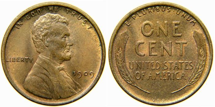 US Coins - UNITED STATES, Lincoln Wheat Cent, 1909 VDB, AU-50.