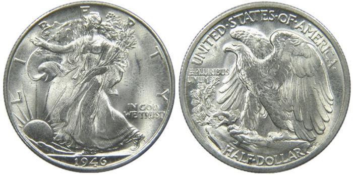 US Coins - UNITED STATES, Walking Liberty Half Dollar, 1946-S, MS-62.