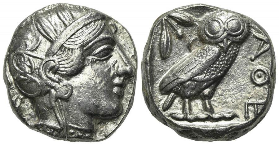 Ancient Coins - Attica, Athens, AR Tetradrachm, ca. 454-404 BC.  Helmeted head of Athena R/ OWL EXTREMELY FINE