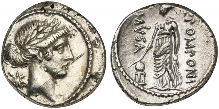 Ancient Coins - ROME REPUBLIC Q. Pomponius Musa, AR Denarius, Rome, 56 BC. R/ Urania, the Muse of Astronomy