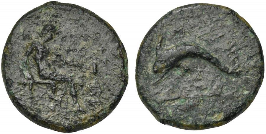 Ancient Coins - Islands of Sicily, Lipara, ca. 350-300 BC. AE 24mm. Hephaistos seated R/ Dolphin