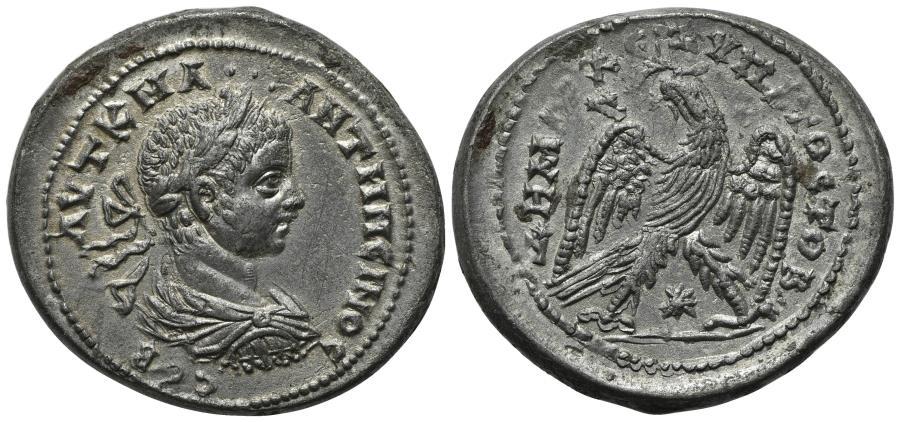 Ancient Coins - Elagabalus (218-222). Seleucis and Pieria, Antioch. AR Tetradrachm