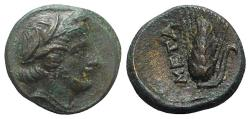 Ancient Coins - ITALY. Southern Lucania, Metapontion, c. 300-250 BC. Æ 13mm. Wreathed head of Demeter  R/ Grain ear