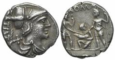 Ancient Coins - ROME REPUBLIC Ti. Veturius, Rome, 137 BC. AR Denarius. R/ Oath-taking scene: youth kneeling l., between two soldiers