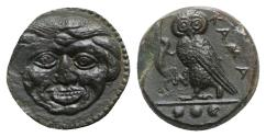Ancient Coins - Sicily, Kamarina, c. 420-410 BC. Æ Tetras. Gorgoneion. R/ Owl