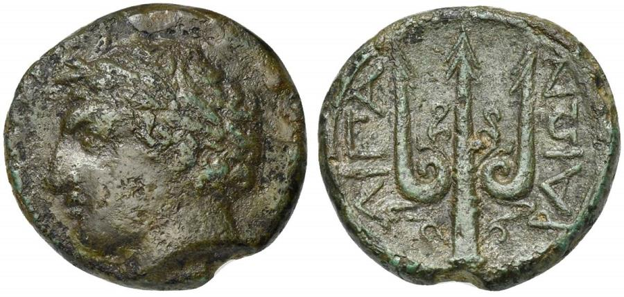 Ancient Coins - Islands of Sicily, Lipara, ca. 304-252 BC. AE Unit R/ Ornamented trident RARE