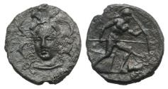 Ancient Coins - Sicily, Syracuse. Dionysios I (405-367 BC). AR Drachm. Unsigned dies in the style of Eukleidas, c. 405-400 BC. RARE