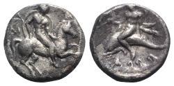 Ancient Coins - ITALY. Southern Apulia, Tarentum, c. 272-240 BC. AR Nomos. Warrior on horseback. R/ Phalanthos riding dolphin