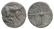 Ancient Coins - Sicily, Gela, c. 480/75-475/70 BC. AR Obol