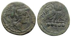 Ancient Coins - ITALY. Northern Apulia, Teate, c. 225-200 BC. Æ Quincunx. R/ OWL