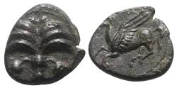 Ancient Coins - Sicily, Carthaginian Domain, c. 330-320 BC. Æ 13mm