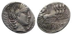 Ancient Coins - ROME REPUBLIC C. Vibius C.f. Pansa, Rome 90 BC. AR Denarius. R/ Minerva driving quadriga