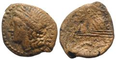 Ancient Coins - ITALY. Campania, Neapolis, c. 250-225 BC. Æ 23mm. Laureate head of Apollo. R/ Lyre leaning against omphalos; caduceus