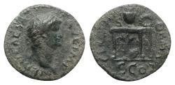 Ancient Coins - Nero (54-68). Æ Semis. Rome, AD 64.  R/ Table