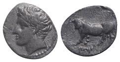 Ancient Coins - Sicily, Panormos as Ziz, c. 405-380 BC. AR Litra. R/ Man-headed bull