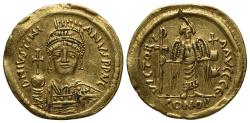 Ancient Coins - Justinian I (527-565). GOLD Solidus. Constantinople, 545-565.