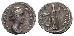 Ancient Coins - Faustina Senior (Augusta, 138-140/1). AR Denarius. Rome, c. 138-141.  R/ Juno